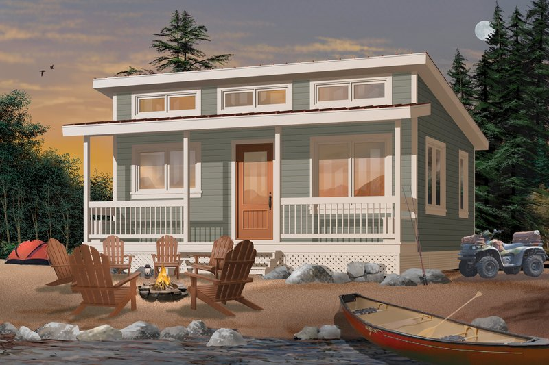 Cabin Style House Plan - 2 Beds 1 Baths 480 Sq/Ft Plan #23-2290