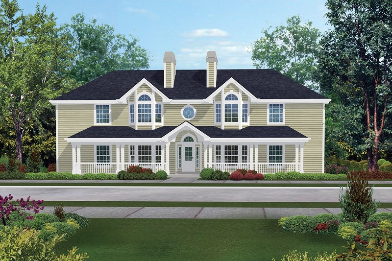 Dream House Plan - Country Exterior - Front Elevation Plan #57-143