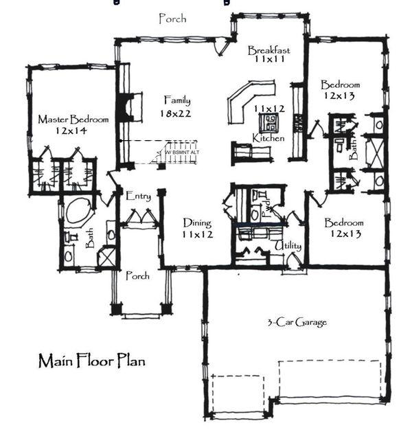 Craftsman Floor Plan - Main Floor Plan Plan #921-20