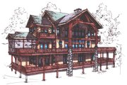 Craftsman Style House Plan - 4 Beds 3.5 Baths 4418 Sq/Ft Plan #921-15 Exterior - Rear Elevation
