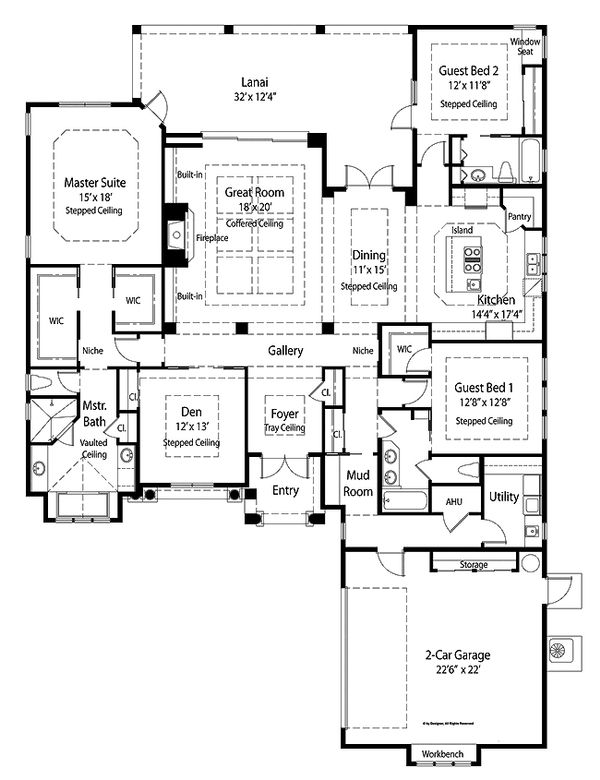 Country Style House Plan - 3 Beds 3 Baths 2780 Sq/Ft Plan #938-48 Floor Plan - Main Floor Plan