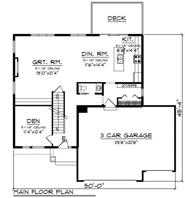 Modern Floor Plan - Main Floor Plan #70-1466