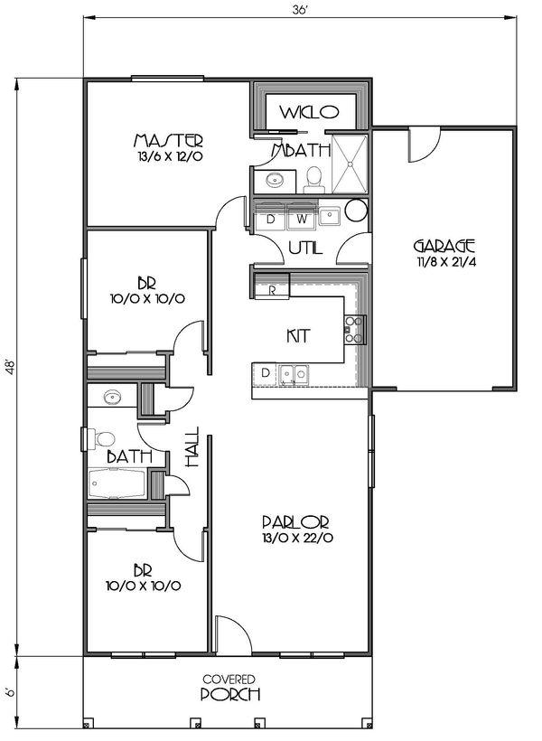 Cottage Floor Plan - Main Floor Plan Plan #423-57