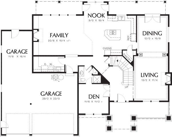 Craftsman Floor Plan - Main Floor Plan Plan #48-119
