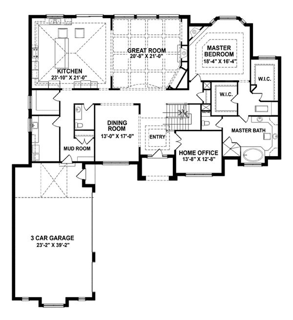 European Floor Plan - Main Floor Plan Plan #1057-3