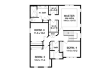 Colonial Floor Plan - Upper Floor Plan Plan #1010-67