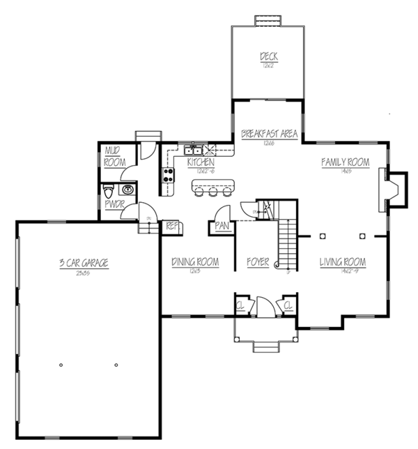 Traditional Floor Plan - Main Floor Plan Plan #1061-3