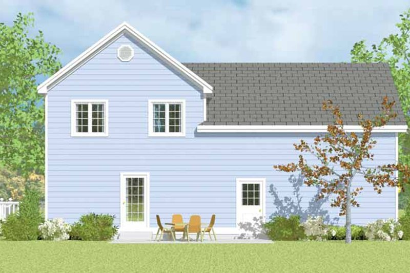 Country Exterior - Rear Elevation Plan #72-1114 - Houseplans.com