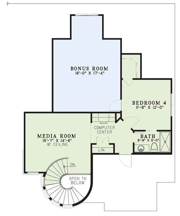 European Floor Plan - Upper Floor Plan Plan #17-3402