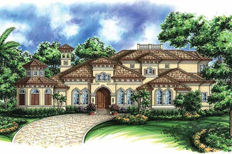 Mediterranean Exterior - Front Elevation Plan #1017-43