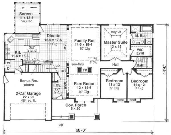 Craftsman Floor Plan - Main Floor Plan Plan #51-512