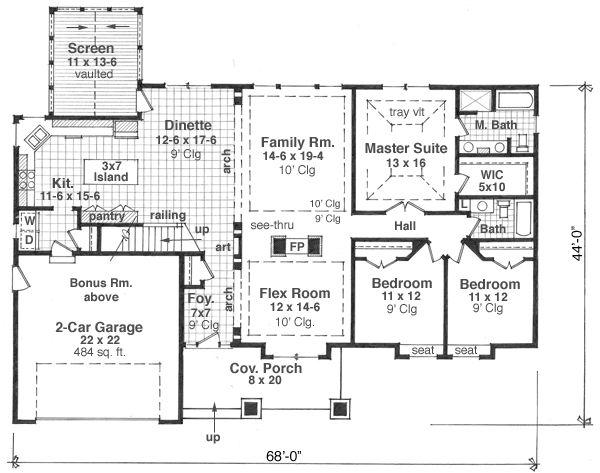 House Plan Design - Craftsman Floor Plan - Main Floor Plan #51-512
