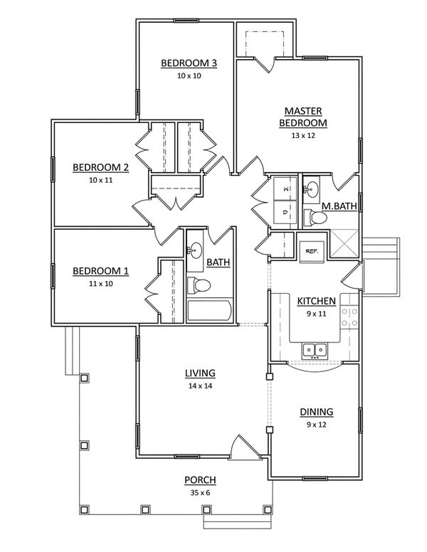 Craftsman Floor Plan - Main Floor Plan Plan #936-26