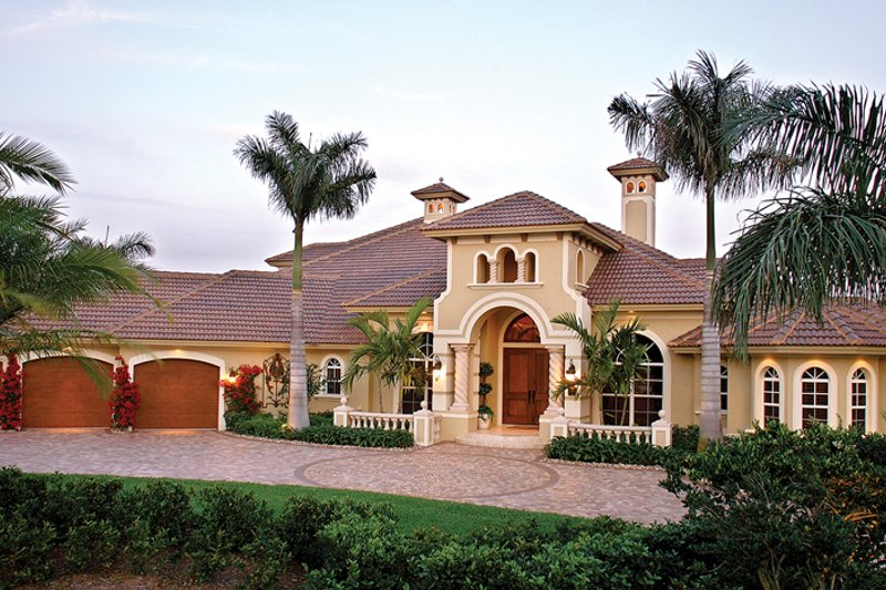 Mediterranean Exterior - Front Elevation Plan #1017-2 - Houseplans.com
