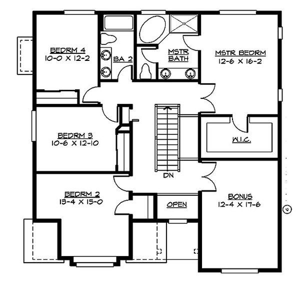 Craftsman Floor Plan - Upper Floor Plan Plan #132-210