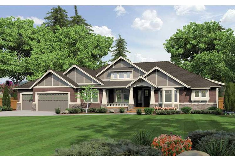 Ranch Exterior - Front Elevation Plan #132-547 - Houseplans.com