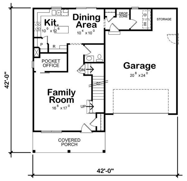 Dream House Plan - Farmhouse Floor Plan - Main Floor Plan #20-2410