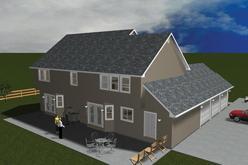 Colonial Exterior - Rear Elevation Plan #1060-1 - Houseplans.com