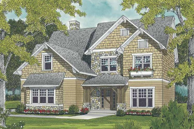 Craftsman Exterior - Front Elevation Plan #453-496