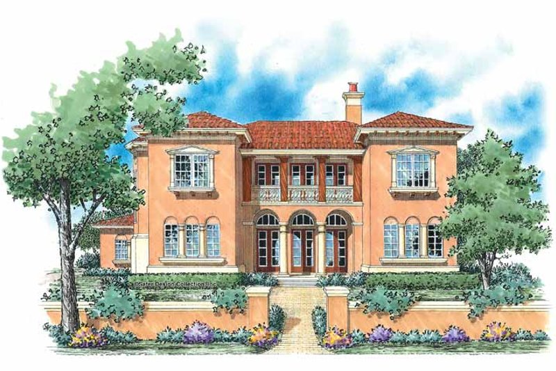 Mediterranean Style House Plan - 5 Beds 3.5 Baths 3578 Sq/Ft Plan #930-59 Exterior - Front Elevation
