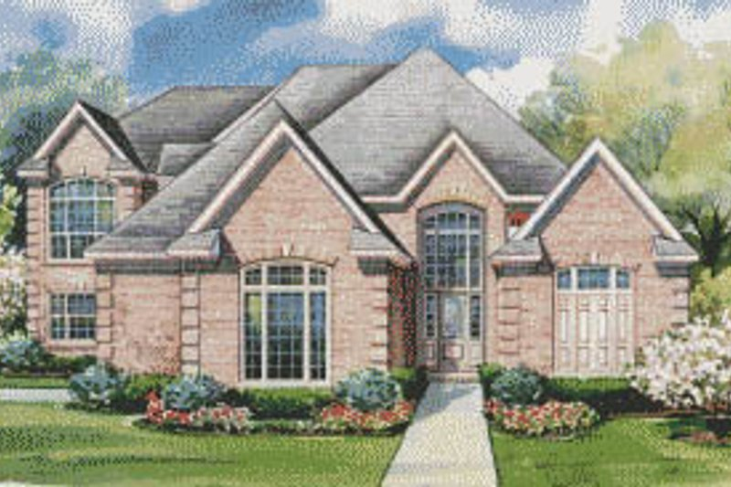 European Exterior - Front Elevation Plan #20-1200 - Houseplans.com