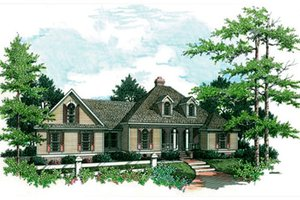 European Exterior - Front Elevation Plan #45-121