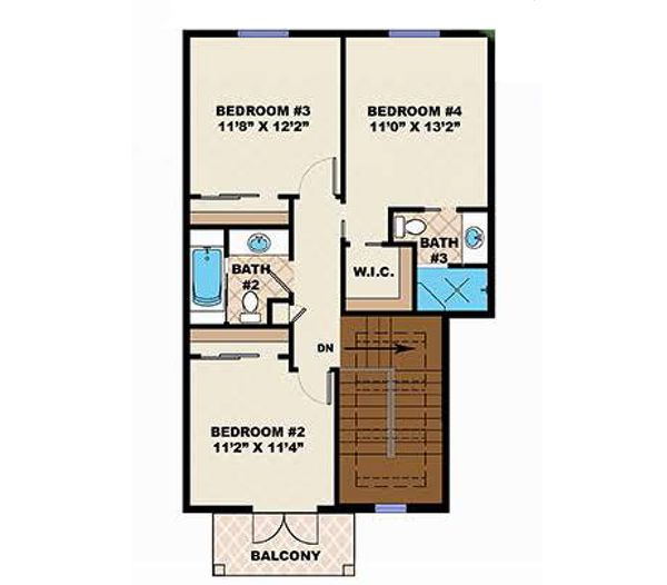 Adobe / Southwestern Floor Plan - Upper Floor Plan Plan #27-458