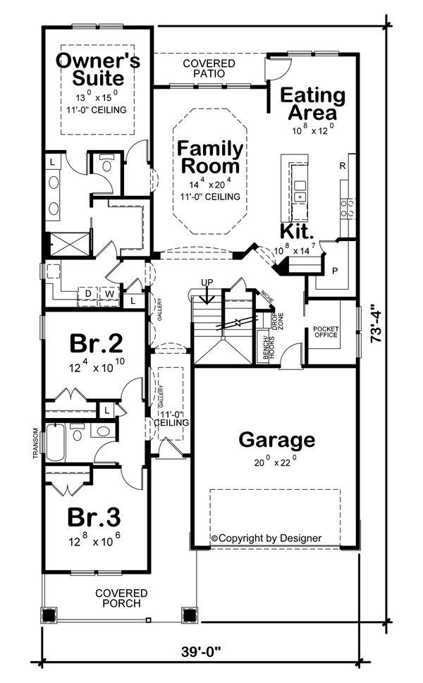 House Plan Design - Craftsman Floor Plan - Main Floor Plan #20-2431