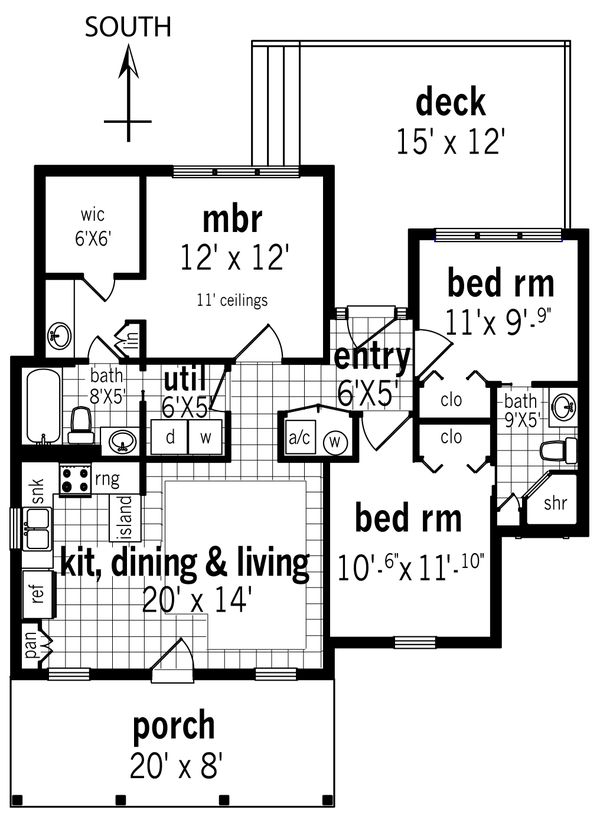 House Blueprint - Cottage Floor Plan - Main Floor Plan #45-585