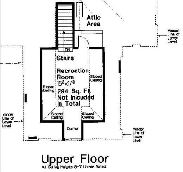 Traditional Floor Plan - Upper Floor Plan Plan #310-677