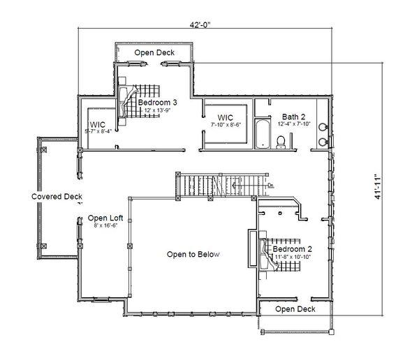 Log Floor Plan - Upper Floor Plan Plan #451-27