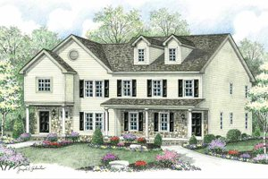 Colonial Exterior - Front Elevation Plan #1002-22
