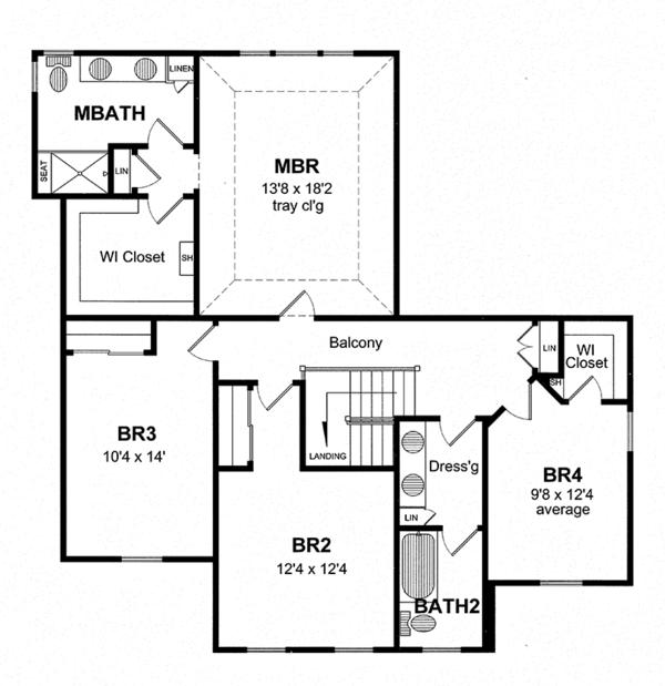 Home Plan - Colonial Floor Plan - Upper Floor Plan #316-278