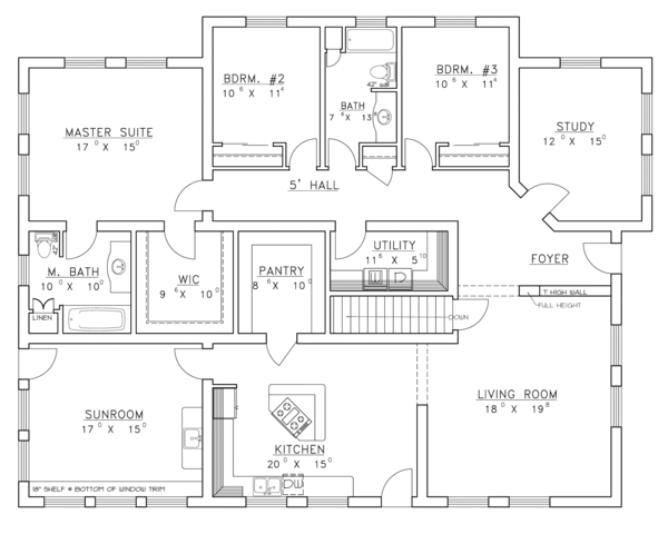 Contemporary Floor Plan - Main Floor Plan Plan #117-853