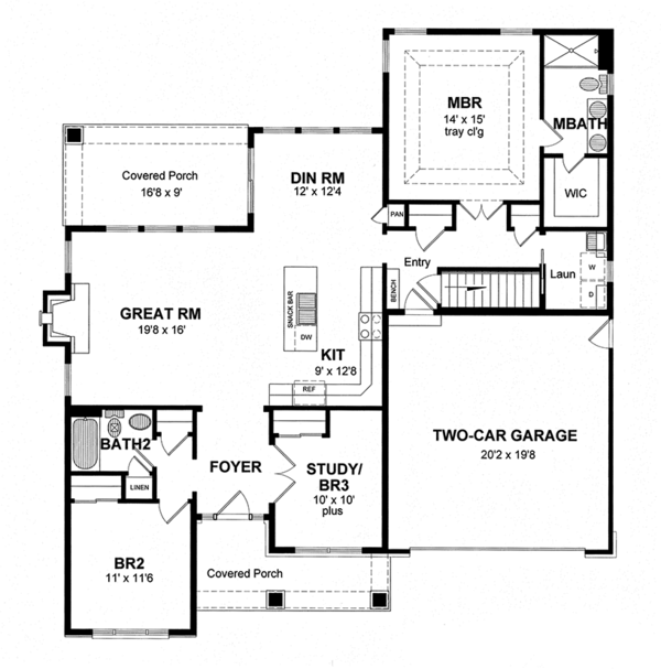 Home Plan - Colonial Floor Plan - Main Floor Plan #316-283