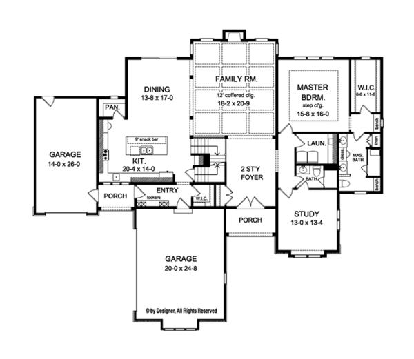 Colonial Floor Plan - Main Floor Plan Plan #1010-112