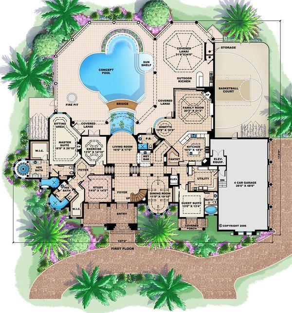 Mediterranean Floor Plan - Main Floor Plan #27-473