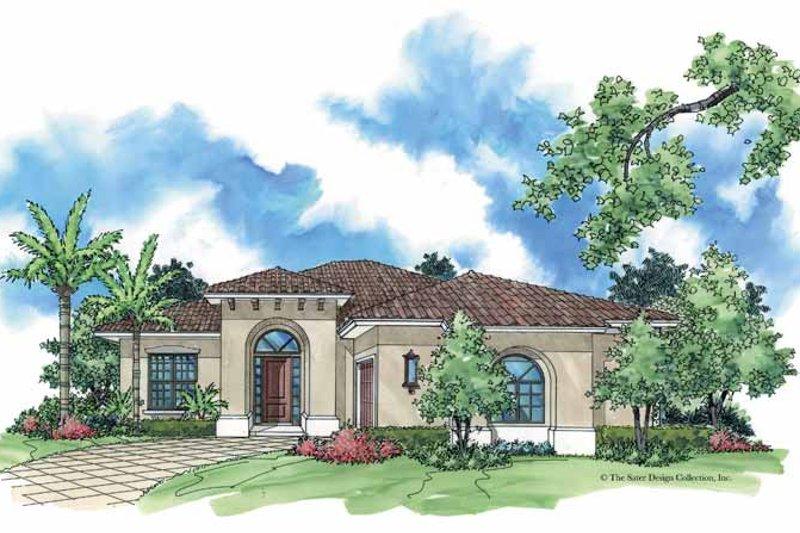 House Plan Design - Mediterranean Exterior - Front Elevation Plan #930-381