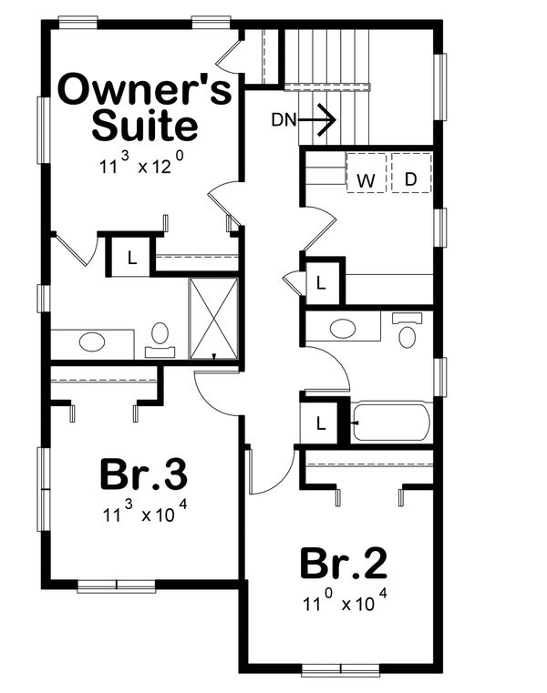Contemporary Floor Plan - Upper Floor Plan Plan #20-2320