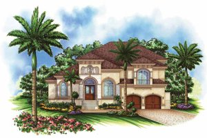 House Design - Mediterranean Exterior - Front Elevation Plan #1017-101