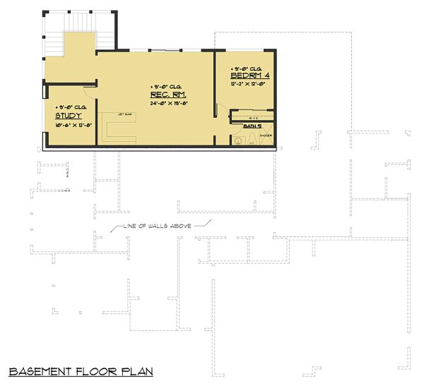 Prairie Floor Plan - Lower Floor Plan Plan #1066-79