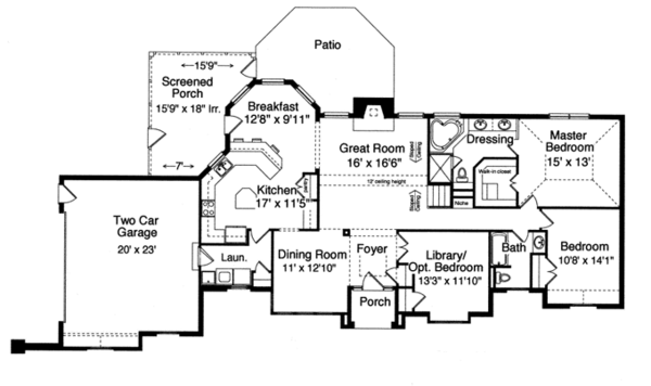 Country Floor Plan - Main Floor Plan Plan #46-813