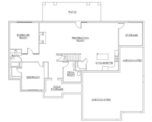 Dream House Plan - Ranch Floor Plan - Lower Floor Plan #5-127