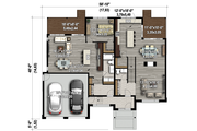 Contemporary Style House Plan - 4 Beds 3 Baths 2713 Sq/Ft Plan #25-4609 Floor Plan - Main Floor