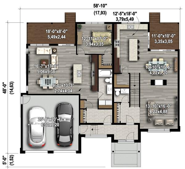 Contemporary Floor Plan - Main Floor Plan Plan #25-4609