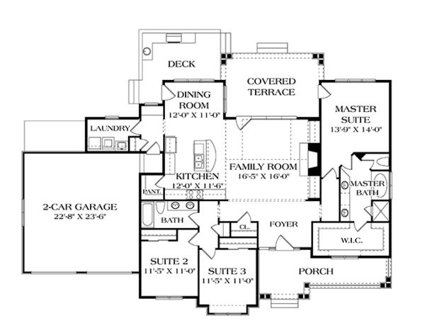 House Plan Design - Craftsman Floor Plan - Main Floor Plan #453-611