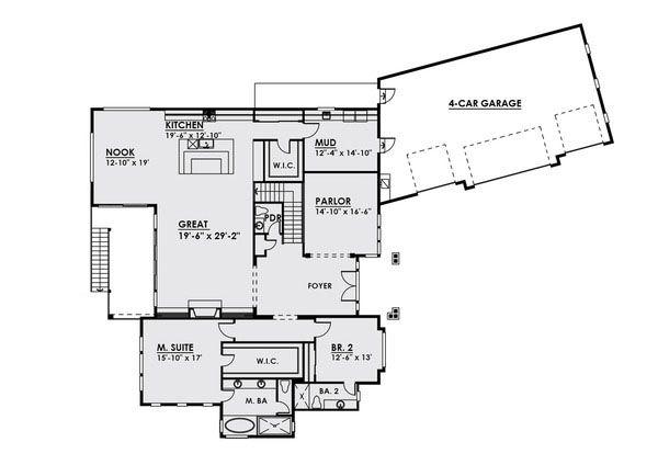 Traditional Floor Plan - Main Floor Plan Plan #1066-23