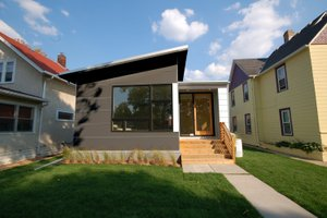Modern style bungalow designed home, front elevation photo