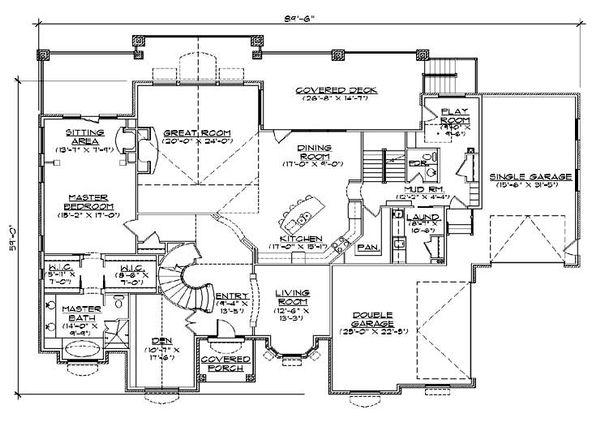 House Plan Design - European Floor Plan - Main Floor Plan #5-445