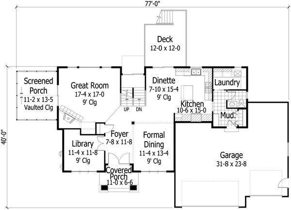 Traditional Floor Plan - Main Floor Plan Plan #51-502